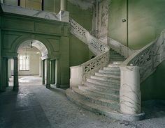 Abandoned Yankton State Hospital, South Dakota.  Beautiful stairwell.