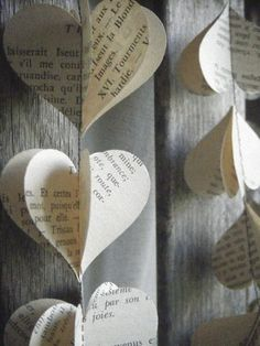 paper heart garland using old book pages