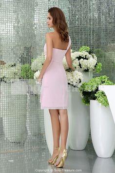 Light Pink Knee-Length Chiffon One Shoulder Bridesmaid Dress 005
