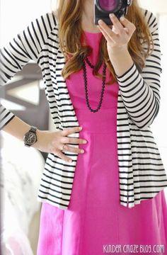 Clove twist back striped cardigan with a pink fit and flare dress from Stitch Fix #stitchfix