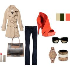 Beige Trenchcoat set off with Red Heels, created by giulia-j on Polyvore
