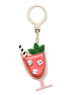 leather passion fruit drink keychain - Kate Spade New York Cute Keychain, Leather Keychain, Small Leather Goods, Fashion Accessories, Jewelry Accessories, Key Fobs, Grey Leather, Kate Spade, Key Chains