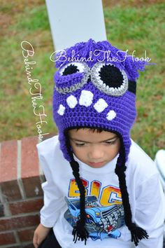Crochet Despicable Me Evil Minion Hat, Purple Minion Hat for Bab, Toddler, Kids, Teens and Adult, Baby Evil Minion Hat, Kids Evil Minion Hat on Etsy, $25.00