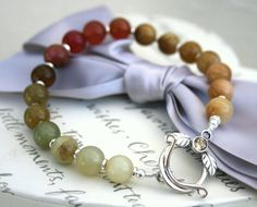 Soocho Jade bracelet graduated Fall colors by kari1121 on Etsy, $32.00