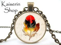 Feather Necklace Bird Neckkace Pendant Charm by KaiserinShop