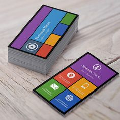 Flat Metro Style Design - Modern Colors Tiles Business Card. You can customize this card with your own text, logo, photo, or use this pre-existing template for FREE.