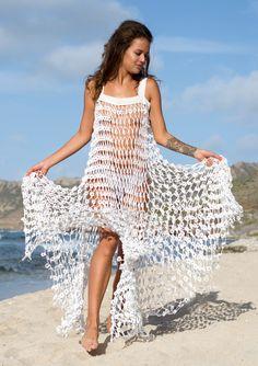 Flower Power White Crochet Maxi Dress - [shop name] Sexy Dresses, White Maxi Dresses, Beach Dresses, Sexy Outfits, Dress Outfits, Crochet Bodycon Dresses, Black Crochet Dress, Crochet Skirts, Pantyhose Outfits