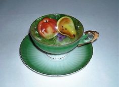 LEFTON-China-Teacup-and-Saucer-Hand-painted-20327-Green-Gold-Trim-Fruit-Tea-cup