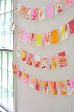 Watercolor Garland {paint with Q-tips} / artbarblog.com @artbarblog