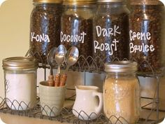 Coffee Bar I like how the coffee bean jars are labeled. I could put to good use grannies coffee grinder from germany.
