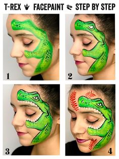 Dinosaur Face Painting, Face Painting For Boys, Body Painting, Face Painting Tutorials, Face Painting Designs, Cool Face Paint, Kids Makeup, Boy Face, Step By Step Painting