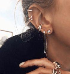 second ear piercing Diamond Star Shower Thread durch Ohrring - 14 Karat Gold mit weien Diamanten,. Ear Jewelry, Cute Jewelry, Jewelry Ideas, Vintage Jewelry, Jewelry Making, Jewelry Trends, Jewellery Box, Bohemian Jewelry, Indian Jewelry