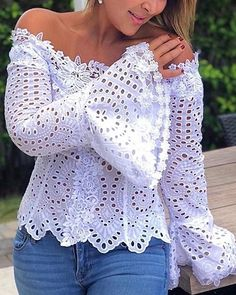 Shop Chic Me - Women's Best Online Shopping - Offering Huge Discounts on Dresses, Lingerie , Jumpsuits , Swimwear, Tops and More. Bell Sleeve Blouse, Bell Sleeves, Trend Fashion, Eyelet Lace, Batwing Sleeve, Pattern Fashion, Sleeve Styles, Ideias Fashion, Estilo Fashion