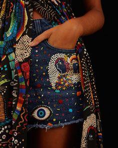 Farm Rio, Glitter Shorts, Jeans, Beautiful Outfits, Beautiful Clothes, Ideias Fashion, Embroidery, Boho, Denim
