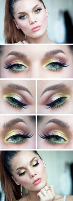 """Today's Look : """"Like Paradise"""" -Linda Hallberg (a beautiful colorful eye done like only Linda can do. A seamless blend of yellows, pinks, oranges, reds, with a healthy dose of green that in no way, shape or form overpowers this look at all. All MUG eyeshadows.) 08/27/13"""