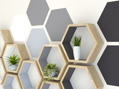 How to paint hexagons on a wall painting wall painting hexagons hexagon shelves hexagon wall shelf Diy Wall Painting, Painting Tools, Creative Wall Painting, Bedroom Wall Designs, Bedroom Decor, Hexagon Wall Shelf, Geometric Wall Paint, Diy Tumblr, Paint Designs