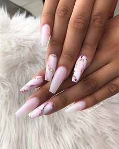 Best Coffin Nails Ideas That Suit Everyone Wonderful pink marble coffin nails with pink & white ombre nails!Wonderful pink marble coffin nails with pink & white ombre nails! Acrylic Nail Art, Long Acrylic Nails, Coffin Acrylic Nails, Acrylic White Tips, Coffin Nails Long, Long Nails, Short Nails, Long Cute Nails, Long Nail Art