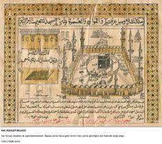 DesertRose,,, Kaaba- Kabe-Ottoman Certificate for Hajj (Pilgrimage) 1908 Hajj Pilgrimage, Old M, Mekka, Ares, Madina, Sufi, Illuminated Manuscript, Religious Art, Islamic Art