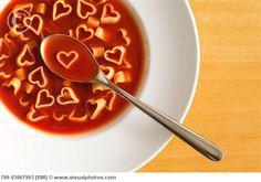 heart shaped pasta soup