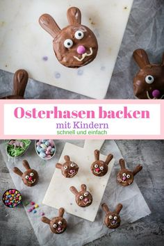 Osterhasen backen – so einfach geht´s Baking Easter bunnies with kids is easy. This recipe for rabbit muffins are beautifully chocolaty and ready in no time. The Thermomix is even faster. Cupcakes, Easter Bunny, Desserts, Birthday, Easy, Recipes, Food, Bunnies, Rabbit