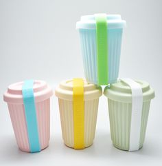 BYO Reusable Coffee Cups. Love the pastel colors and they are a perfect way to celebrate Earth Day (buy yourself an eco-friendly gift!)