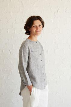 High-Low Hem Collarless Shirt Tutorial
