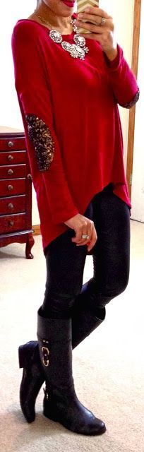 Can't wait to wear something like this for the holidays!  Black leggings, long red sweater with glitter elbow patches.