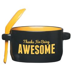 If one of their favorite work lunches is a hot bowl of soup, thank them with this mug and spoon. They can keep it in the office kitchen and be prepared to chow down when they have a hunger that needs . Employee Appreciation Gifts, Employee Gifts, Soup Mugs, Bowl Of Soup, Pinterest Projects, Business Gifts, Ceramic Mugs, Corporate Gifts, Holiday Gifts
