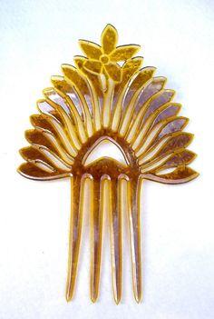 Art Deco hair comb amber celluloid hair pin by ElrondsEmporium