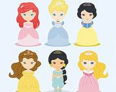 """Classic princesses clipart, PRINCESS CLIP ART, princess clipart, for baby shower invites or party, 12x12"""" for personal & commercial use."""