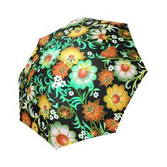 Beautiful Vintage European Floral Pattern Foldable Umbrella