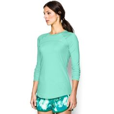 Under Armour Women's UA Sunblock 50 Long Sleeve ($50) ❤ liked on Polyvore featuring activewear, activewear tops, crystal, under armour sportswear and under armour