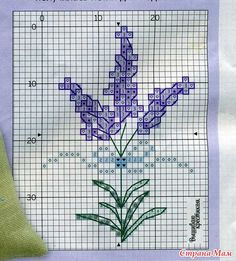 лаванда Small Cross Stitch, Cross Stitch Cards, Cross Stitch Rose, Cross Stitch Flowers, Cross Stitching, Embroidery Hoop Art, Ribbon Embroidery, Cross Stitch Embroidery, Cross Stitch Patterns