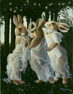 "Graces ""The Three Graces"" from c. religious art revived via animalia - love the sarcasm in this.""The Three Graces"" from c. religious art revived via animalia - love the sarcasm in this. Lapin Art, Rabbit Art, Bunny Art, Whimsical Art, Pet Portraits, Fantasy Art, Cool Art, Mona Lisa, Illustration Art"