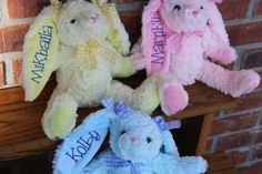 Personalized Easter Bunnies..3 colors by ZoeyBellesCreations