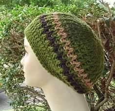 Purple Sage Designz Hippie Patchwork & Tams: Here is a free crochet tam pattern of mine Crochet Adult Hat, Bonnet Crochet, Crochet Beanie Hat, Crochet Cap, Love Crochet, Crochet Scarves, Crochet Clothes, Knitted Hats, Slouchy Hat