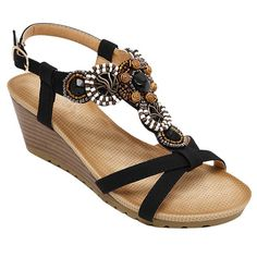 $17.56 Bohemian Style Women's Sandals With Beading and Wedge Heel Design
