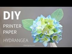 SUPER SIMPLE & realistic, DIY paper Hydrangea flower from printer paper, FREE TEMPLATE - YouTube