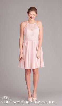 Short chiffon bridesmaid dress with high illusion neckline.