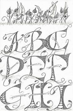 Caligraphy Alphabet, Hand Lettering Alphabet, Alphabet Art, Calligraphy Letters, Letter Art, Celtic Alphabet, Doodle Alphabet, Graffiti Lettering Fonts, Doodle Lettering