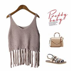 2016 Brand New Arrival #Fashion Girl Casual Knited Top Vogue Female Sexy Hollow Out Tassels Buttons Crop Tank #Tops