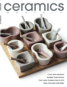 Hiroe Hanazono's condiment set, 12 in. (30 cm) in length, slip-cast porcelain, fired to cone 6 in oxidation. featured on the cover of the June/July/August 2016 issue of Ceramics Monthly