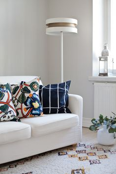 Marimekko, Fabric Combinations, Living Styles, Love Seat, Inspiration, Cushions, Couch, Living Room, Small Things