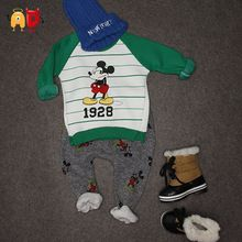 AD Children's Mickey Thick Sets 2-10 Age Cotton Sweater + Pants Boys Girls Christmas T shirts + Trousers Kids Clothing Clothes(China (Mainland))