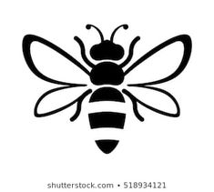b9d5f377a Graphic illustration of silhouette honey bee. Isolated on background vector  drawing for honey products, package, design.