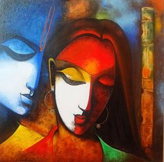 Radha Krishna Love Painting - Radha Vallabh by Sheetal Bhonsle Peacock Painting, Love Painting, Figure Painting, Krishna Painting, Krishna Art, Radhe Krishna, Modern Art Paintings, Indian Paintings, Art Visage