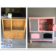 Before and After. Entertainment Center turned Play Kitchen.