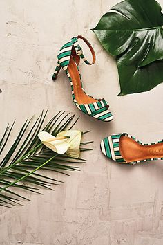 Emerald Striped Heels - anthropologie.com