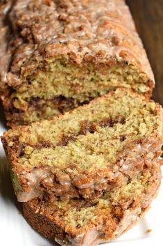 Delicious Cinnamon Swirl Zucchini Bread recipe tastes like a coffee cake with a cinnamon glaze. Make two freezable loaves! Cinnamon Zucchini Bread, Zucchini Bread Recipes, Apple Bread, Zucchini Cake, Garlic Bread, Zucchini Scones Recipe, Zuchinni Bread, Yellow Zucchini, Zucchini Brownies