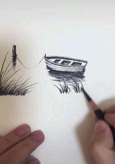Art Drawings Beautiful, Art Drawings For Kids, Art Drawings Sketches Simple, Pencil Art Drawings, Cool Drawings, Nature Sketches Pencil, Oil Pastel Art, Diy Canvas Art, Art Tutorials
